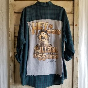 Duck Dynasty Up-cycled Redneck Button Up Plaid XL